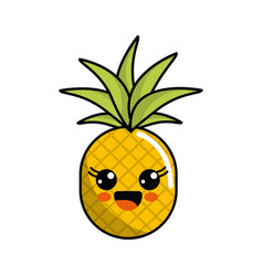color kawaii happy pineapple icon vector image vector image