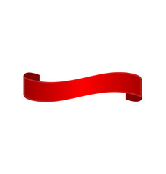decorative red curved ribbon isolated icon vector image vector image