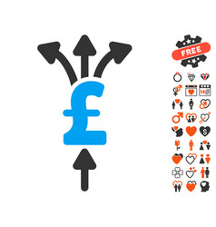 Divide pound payments icon with valentine bonus vector