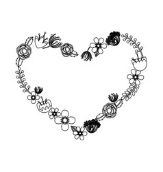 heart wreath leafs crown icon vector image