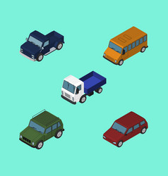 Isometric transport set of suv lorry armored and vector