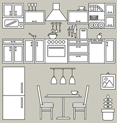 Kitchen interior line design vector image