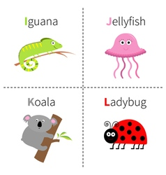 Letter i j k l iguana jellyfish koala ladybug zoo vector