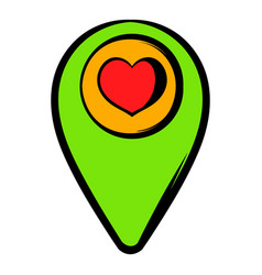 Map pointer with heart icon icon cartoon vector