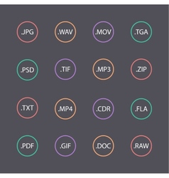 Multicolored set of document file formats vector