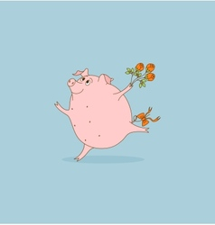 Pig with flowers vector image