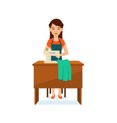 Seamstress sitting at table to sewing machine vector