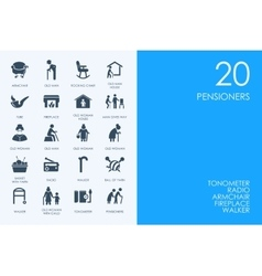 Set of blue hamster library pensioners icons vector