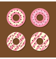 Set of strawberry donuts vector