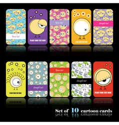 Set of ten cartoon cards vector image