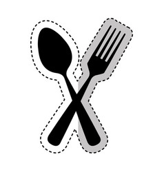 Spoon and fork kitchen cutlery isolated icon vector