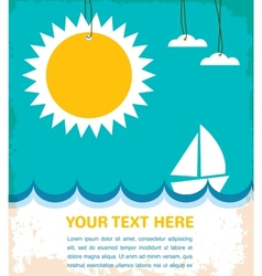 summer time sea with yacht vector image vector image