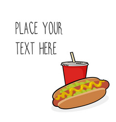 Template with hotdog and red soda cup vector
