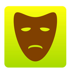 Tragedy theatrical masks brown icon at vector