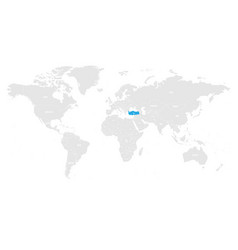 turkey marked by blue in grey world political map vector image