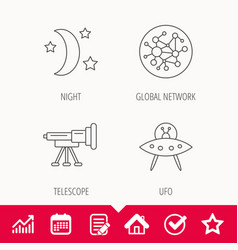 Ufo global network and telescope icons vector