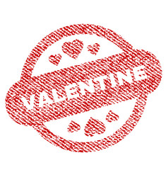 Valentine stamp seal fabric textured icon vector