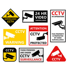 video surveillance symbols security camera icons vector image