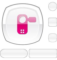 Video white button vector