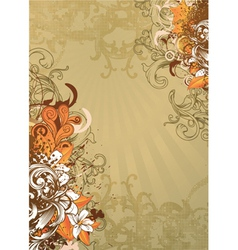 Vintage floral background with grunge vector