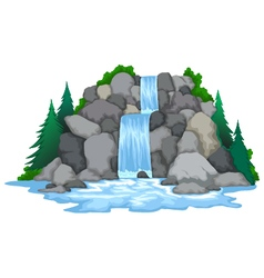waterfall with landscape view background vector image
