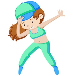 Woman in green doing aerobic vector
