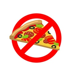 Stop pizza forbidden fast food crossed out slice vector
