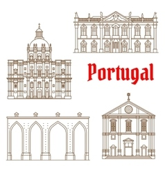 Portuguese travel landmarks of lisbon icons vector