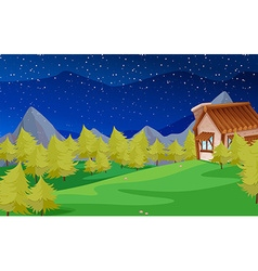 Scene with pine trees and house vector
