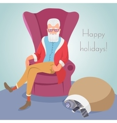 Hipster Santa sitting in a chair vector image