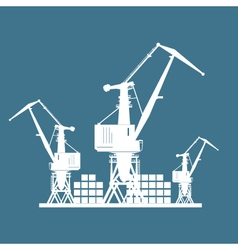 Cargo cranes isolated on blue vector