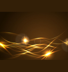 Golden glowing waves abstract background vector