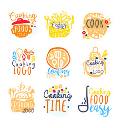 cooking food easy logo design set of colorful vector image