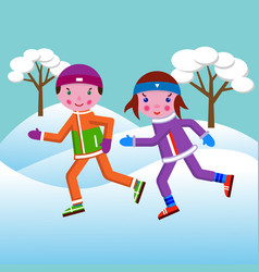 A boy and a girl run in the winter in a park vector