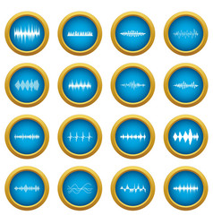 sound wave icons blue circle set vector image