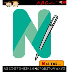 Letter n with needle cartoon vector