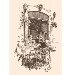 Drawing of european street outdoor cafe in rome vector