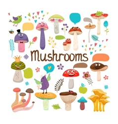 Cute cartoon mushrooms with faces vector