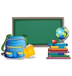Blackboard and backpack vector image