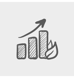 Growing graph sketch icon vector