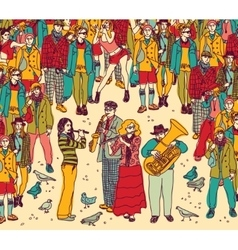 Group street musicians band and audience color vector