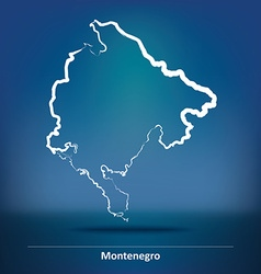 Doodle map of montenegro vector