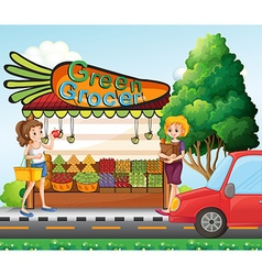 Girls shopping for fresh ingredients vector