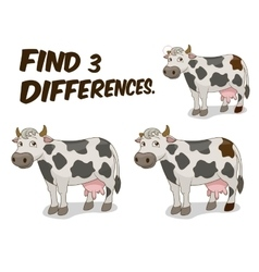 Find differences game cow vector