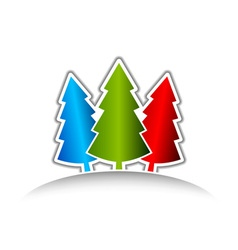 Three christmas trees vector