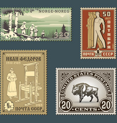 Postage stamps 2 vector image