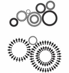 People cogs silhouette vector