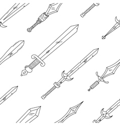Hand drown pattern with swords vector
