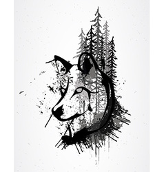 Abstract grunge wolf head vector image