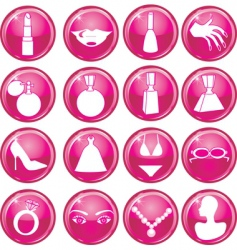 beauty button icons vector image